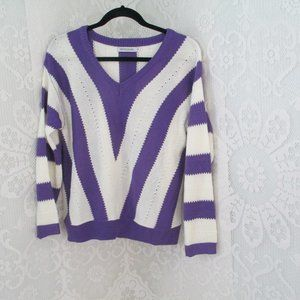 MISSLOOK  Purple and White Pullover Sweater